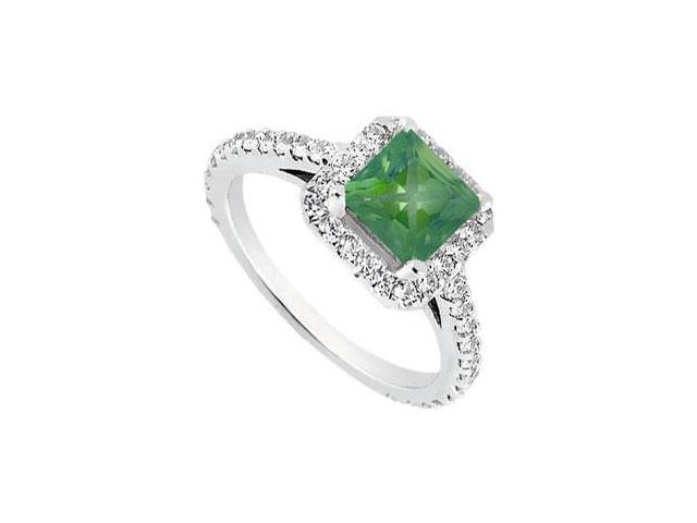 May Birthstone Created Emerald  CZ Halo Engagement Rings 14K White Gold 1 CT TGW
