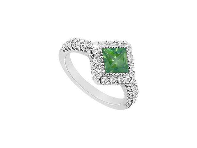 May Birthstone Created Emerald and CZ Halo Engagement Rings 14K White Gold 1.50 CT TGW