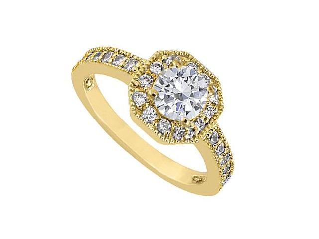 14K Yellow Gold Diamond Milgrain Engagement Ring of 0.85 Carat Diamonds