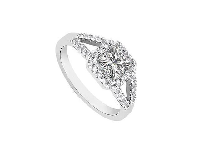 Square Split Shank Halo Diamond Ring in 14K White Gold 1.00.ct.tw