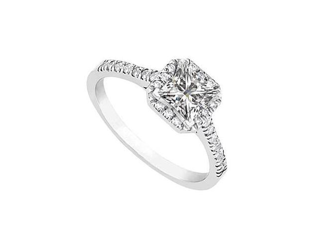 Square Halo Diamond Ring in 14K White Gold 1.00.ct.tw