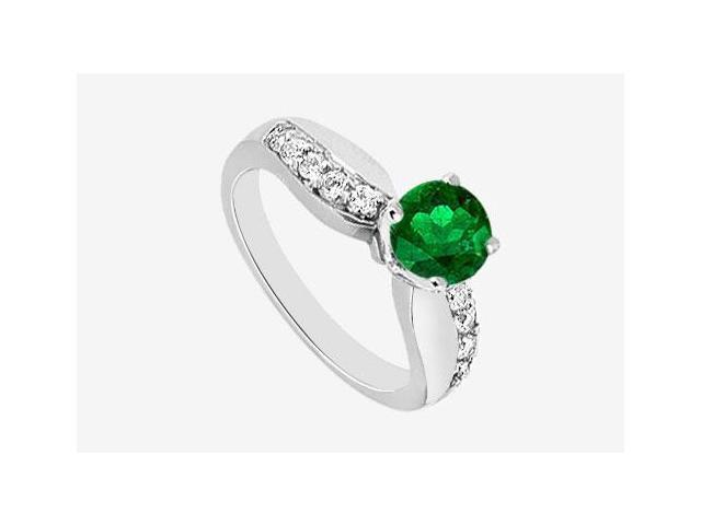 Diamond Engagement Ring and Natural Emerald Half Carat Prong set in 14K White Gold 0.75 ct. TGW