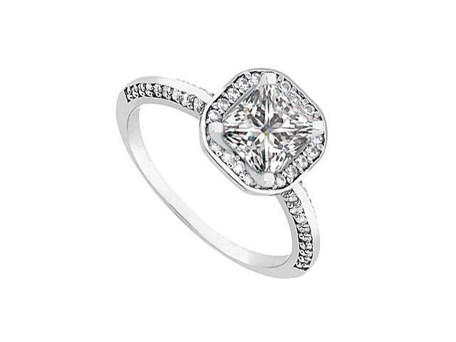 Halo Engagement Ring Princess cut Diamond in White Gold 14k 1 ct tdw
