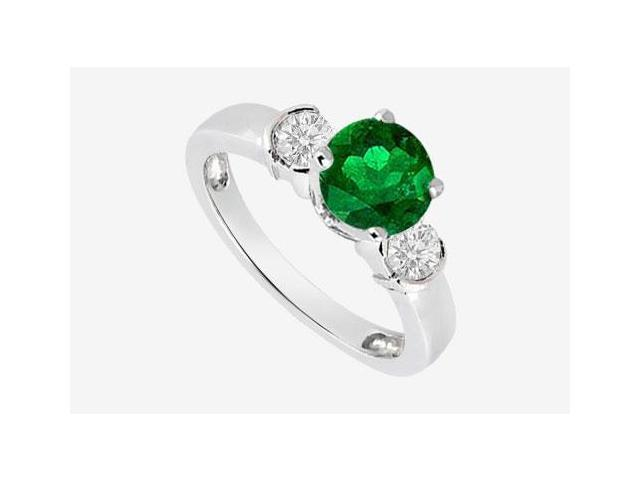 Natural Emerald Engagement Rings with side Diamond in 14K White Gold 0.70 Carat TGW