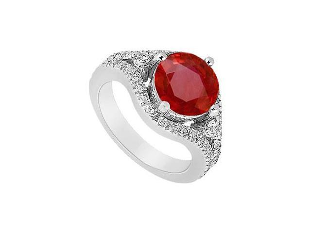 July Birthstone Created Ruby and CZ Split Shank Engagement Ring in 14K White Gold 0.75.ct.tgw