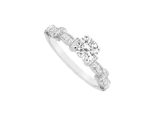 Semi Mount Engagement Ring in 14K White Gold with 0.25 Ct. Diamonds Not Included Center Diamond