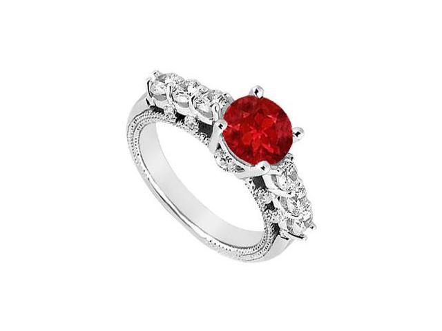 Four Prong Set July Birthstone Created Ruby and CZ Engagement Ring in 14K White Gold 1 ct.tw