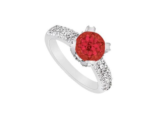 Three Row July Birthstone Created Ruby and CZ Engagement Ring in 14K White Gold 1 ct.tw
