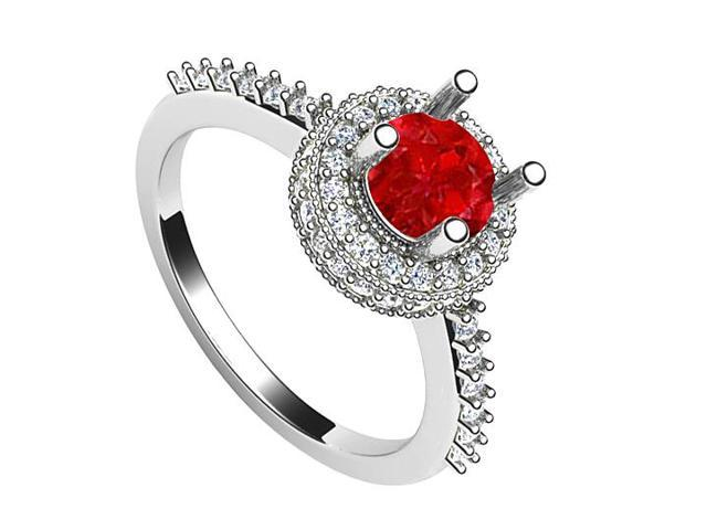July Birthstone Created Ruby and CZ Halo Engagement Ring in 14K White Gold 1.25.ct.tw