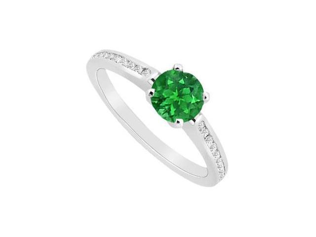 May Birthstone Created Emerald and CZ Engagement Ring 14K White Gold 0.75 CT TGW
