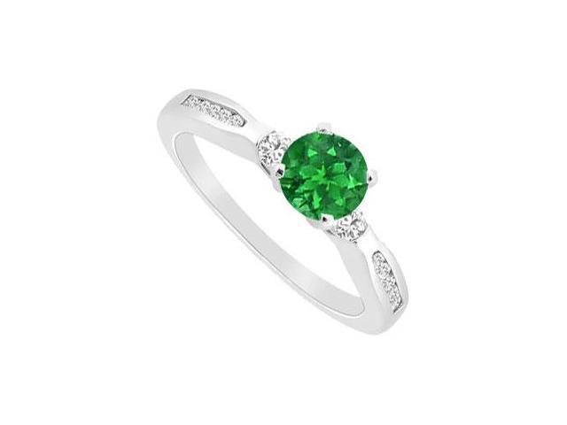 May Birthstone Created Emerald  Cubic Zirconia Engagement Ring 14K White Gold 0.75 CT TGW