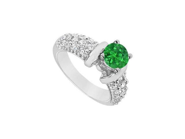 Emerald and Diamond Engagement Ring  14K White Gold - 2.00 CT TGW