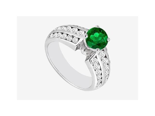 Channel Set Cubic Zirconia with Frosted Emerald Engagement Ring in 14K White Gold 1.60 Carat TGW