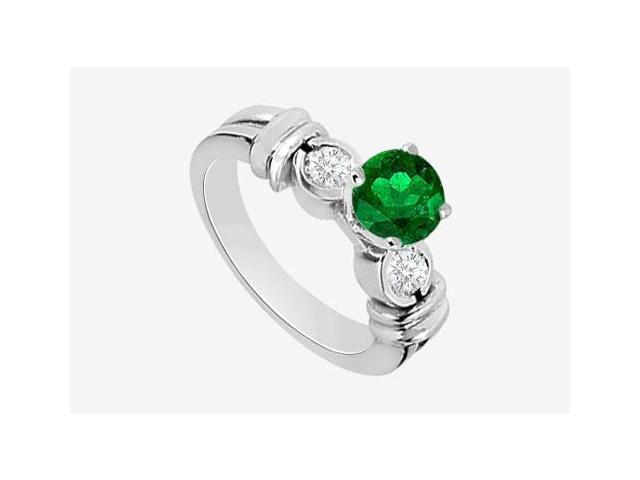 14K White Gold Engagement Ring with Frosted Emerald and Cubic Zirconia 1.30 Carat TGW