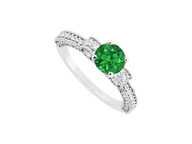 May Birthstone Created Emerald  CZ Milgrain Engagement Ring 14K White Gold 1 CT TGW