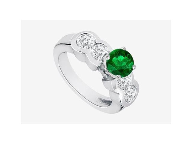 Frosted Emerald 2 Ct. Engagement Ring in 14K White Gold side Cubic Zirconia  with TGW 3.20 carat