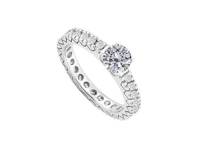 Diamond Eternity Engagement ring in 14K White Gold 1 ct diamonds