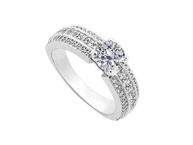 Three row Diamond Engagement Ring in 14K White Gold 1 ct Diamonds