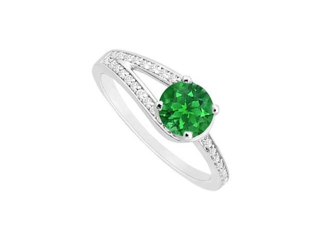 May Birthstone Created Emerald  CZ Motif Engagement Ring 14K White Gold 0.75 CT TGW