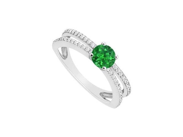 May Birthstone Created Emerald  CZ Engagement Rings 14K White Gold 0.75 CT TGW