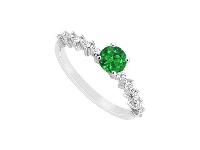 May Birthstone Created Emerald  CZ Engagement Ring in 14kt White Gold 0.75 CT TGW