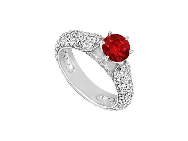 Tiffany Style July Birthstone Created Ruby Engagement Ring in 14K White Gold 1.50 ct.tw