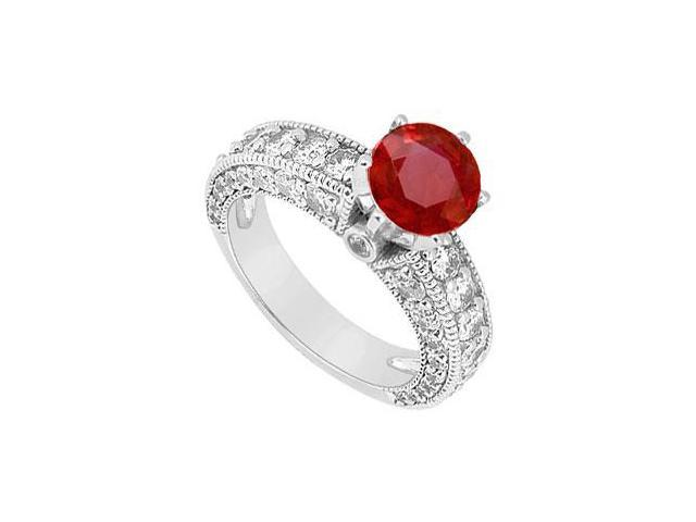 July Birthstone Created Ruby Milgrain Engagement Ring in 14K White Gold 2.00 ct.tgw