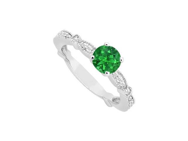 May Birthstone Created Emerald   CZ Milgrain Engagement Ring in 14K White Gold 0.75 CT TGW