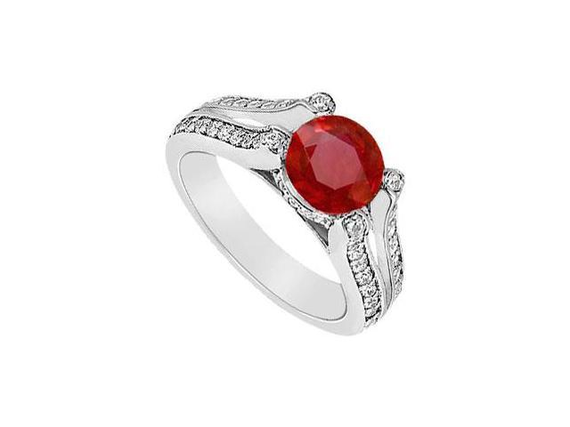 July Birthstone Created Ruby and CZ Engagement Ring in 14K White Gold 1.00 ct.tgw