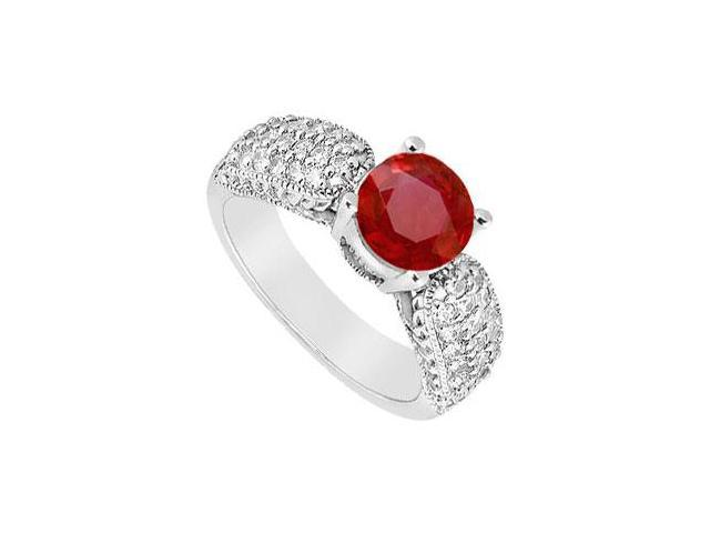 Wide Shank July Birthstone Created Ruby Milgrain Engagement Ring in 14K White Gold 1.00 ct.tgw