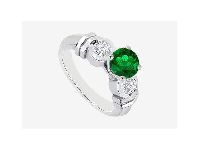 14K White Gold Engagement Ring with Frosted Emerald and Cubic Zirconia 1.40 Carat TGW