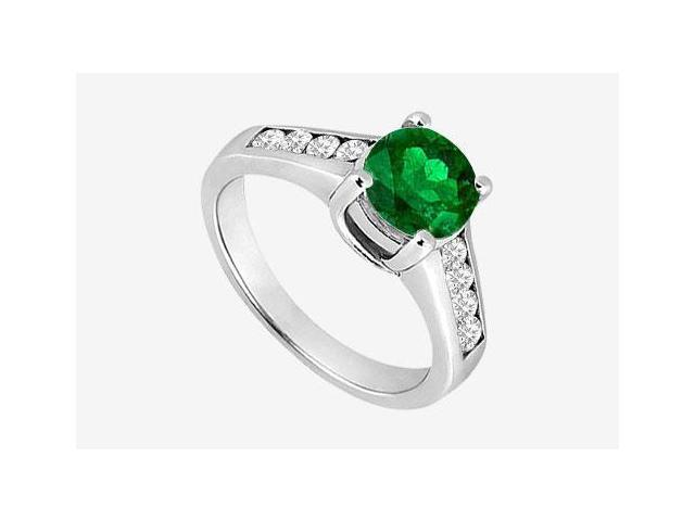 Frosted Emerald prong set Engagement Ring with channel set CZ in 14K White Gold 1.40 Carat TGW
