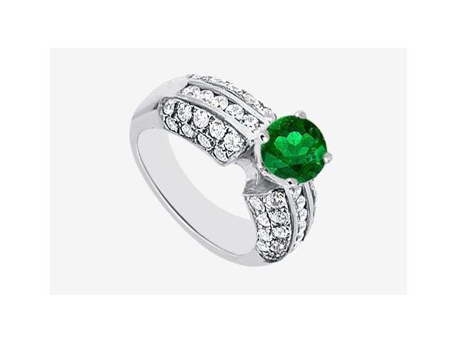 14K White Gold Engagement Ring with Frosted Emerald and Cubic Zirconia 2.30 Carat TGW