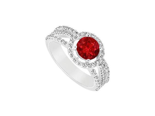 July Birthstone Created Ruby  CZ Halo Engagement Rings in 14K White Gold 1.25 ct.tgw