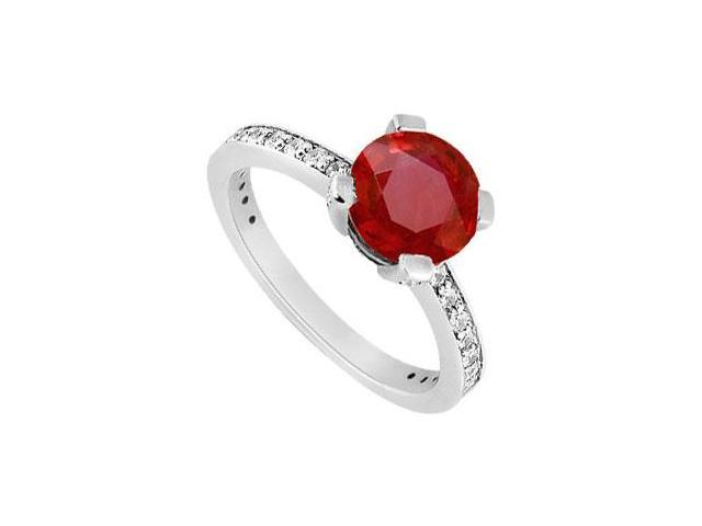 Prong Set July Birthstone Created Ruby and CZ Engagement Ring in 14K White Gold 1.00 ct.tgw