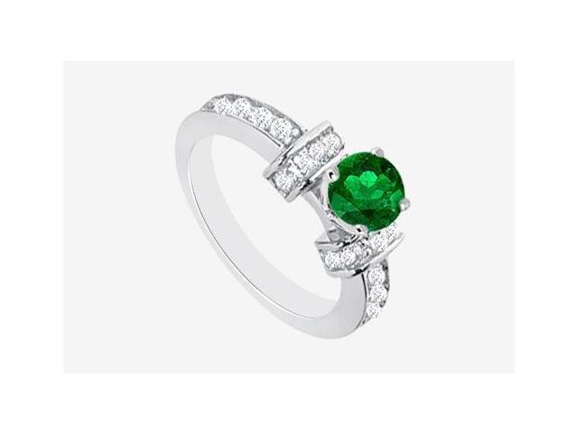 Engagement Ring Emerald and Cubic Zirconia 2.10 carat TGW in 14K White Gold