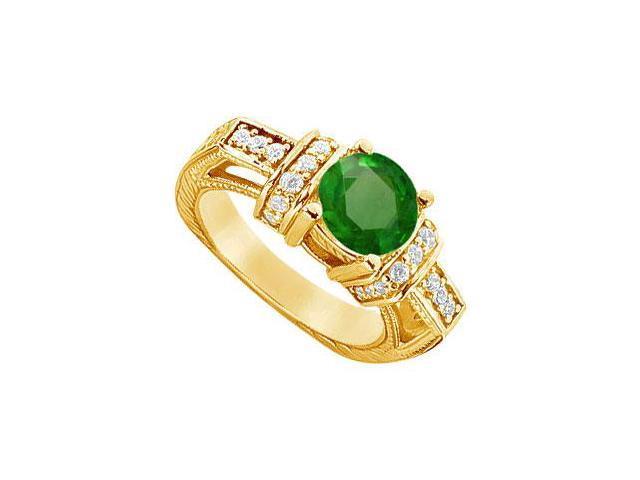 Emerald and Diamond Engagement Ring  14K Yellow Gold - 2.50 CT TGW