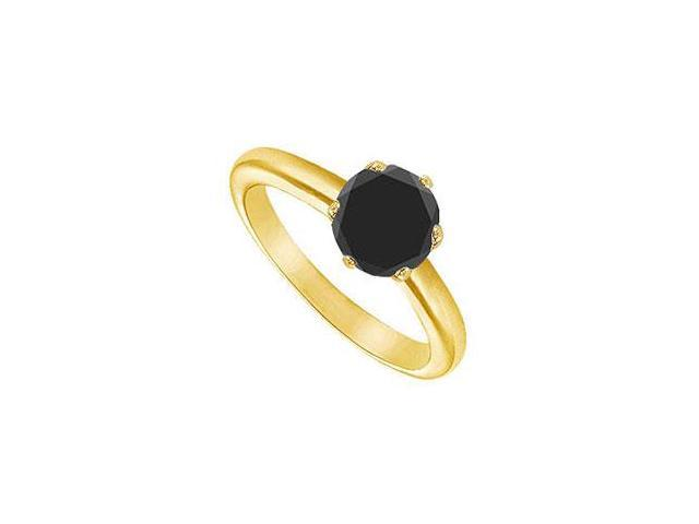 Black Diamond Round Prong Set Solitaire Ring  14K Yellow Gold 0.50 CT Diamond