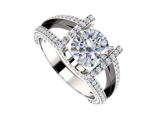 Split Shank Engagement Rings with Diamonds in 14K White Gold 1.50 CT TDW