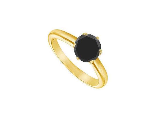 Black Diamond Round Prong Set Solitaire Ring  14K Yellow Gold 1.00 CT Diamond