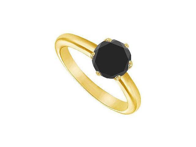 Black Diamond Round Prong Set Solitaire Ring  14K Yellow Gold 2.00 CT Diamond