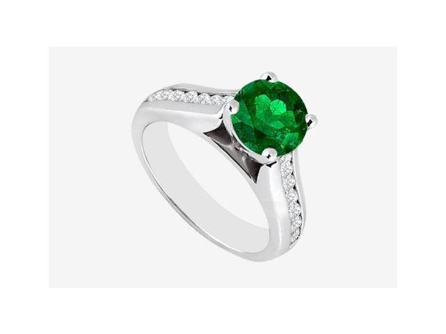 Frosted Emerald Engagement Ring with channel set Cubic Zirconia in 14K White Gold 2.60 Carat TGW