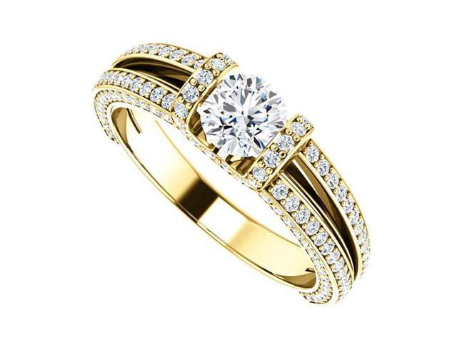Split Shank Engagement Rings with Diamonds in 14K Yellow Gold 1.50 CT TDW