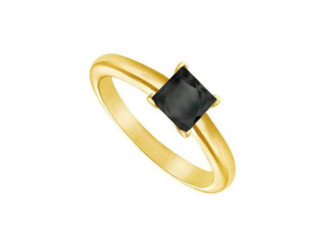 Black Diamond Princess Cut Solitaire Ring  14K Yellow Gold 0.50 CT Diamond