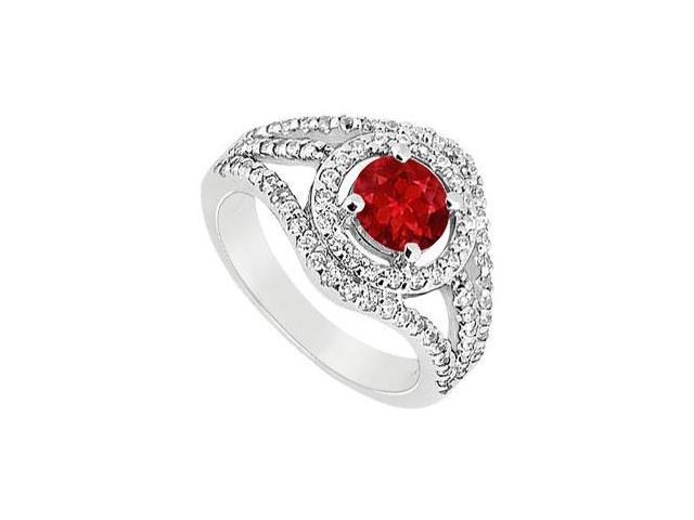 July Birthstone Created Ruby Split Shank Engagement Rings in 14K White Gold 1.25 ct.tgw