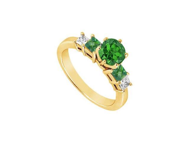 Diamond and Emerald Engagement Ring  14K Yellow Gold - 1.50 CT TGW
