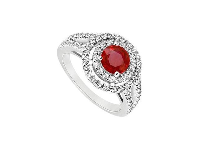 July Birthstone Created Ruby Halo Engagement Rings in 14K White Gold 1.25 ct.tgw
