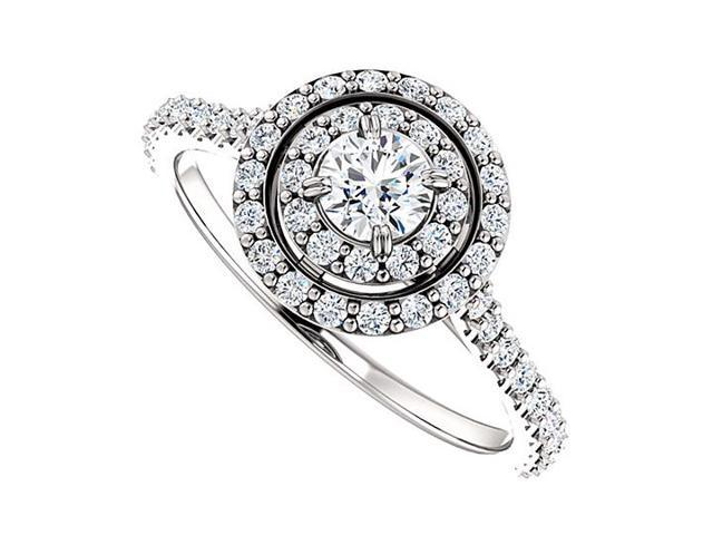 Halo Diamond Engagement Ring with Double Halo in 14K White Gold 0.75 CT TDW