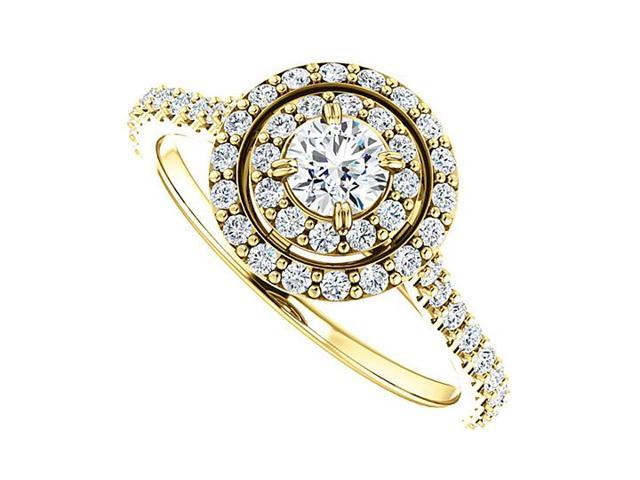 Halo Diamond Engagement Ring with Double Halo in 14K Yellow Gold 0.75 CT TDW