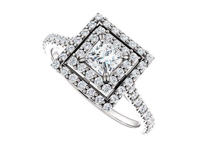 Halo Diamond Engagement Ring with Double Halo in 14K White Gold 1.00 CT TDW